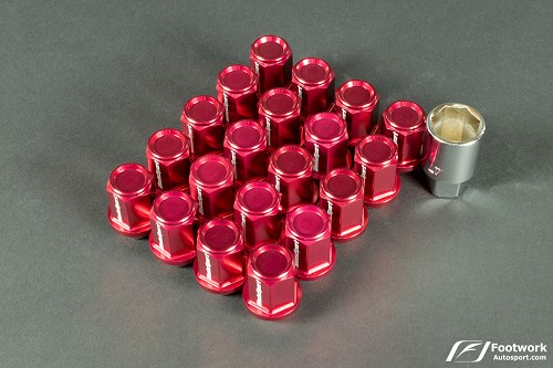 WedsSport Forged Aluminum Lug Nuts   (M12 X 1.25 - Close End Type) Red